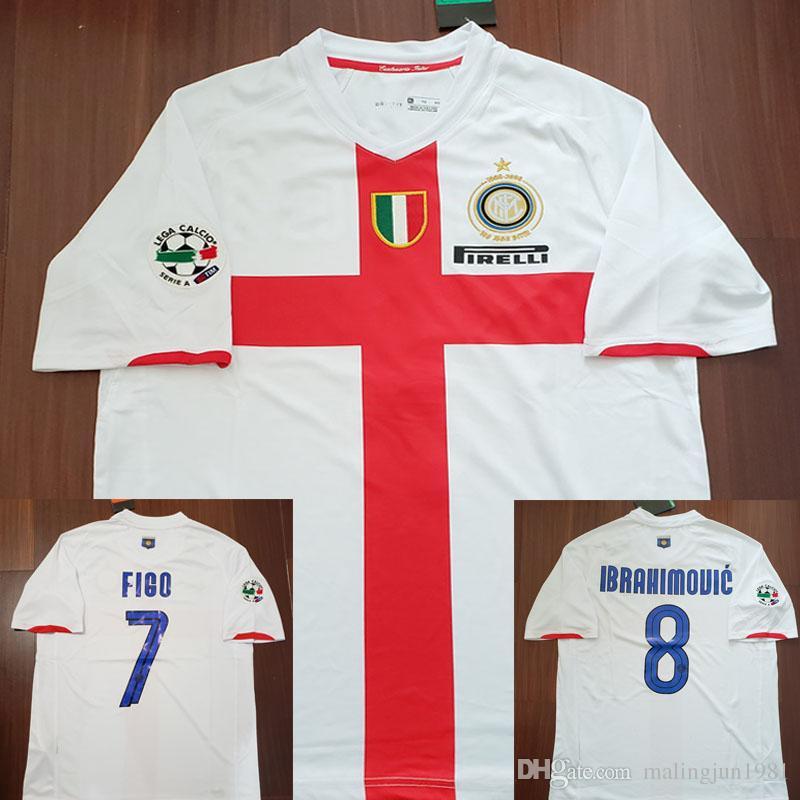 size 40 a6884 0dadd 07/08 Inter Centenary Zlatan Ibrahimovic Figo J.Zanetti Retro Soccer Jersey  2008 Milan Away Shirt Materazzi Crespo Vintage MAGLIA Calcio