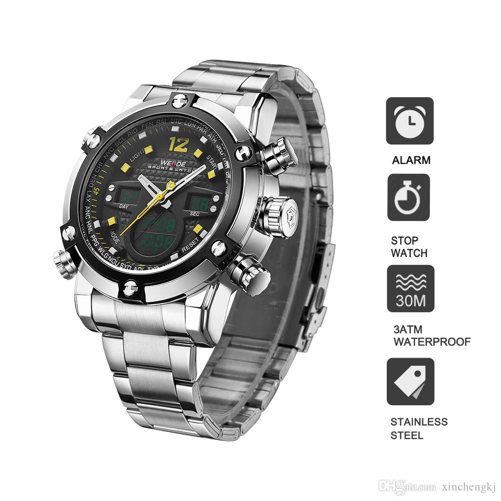 0e4e6e996de WEIDE 5205 Stainless Steel Sport Orologio Clock Men Automatic Digital  Electronic Watch LCD Camping Watches Led Quartz Wristwatch Discount Watches  Discounted ...