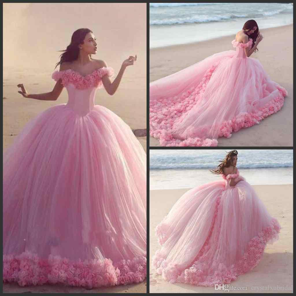 2018 New Arrival Romantic Pink Ball Gown Wedding Dresses PuffyOff ...