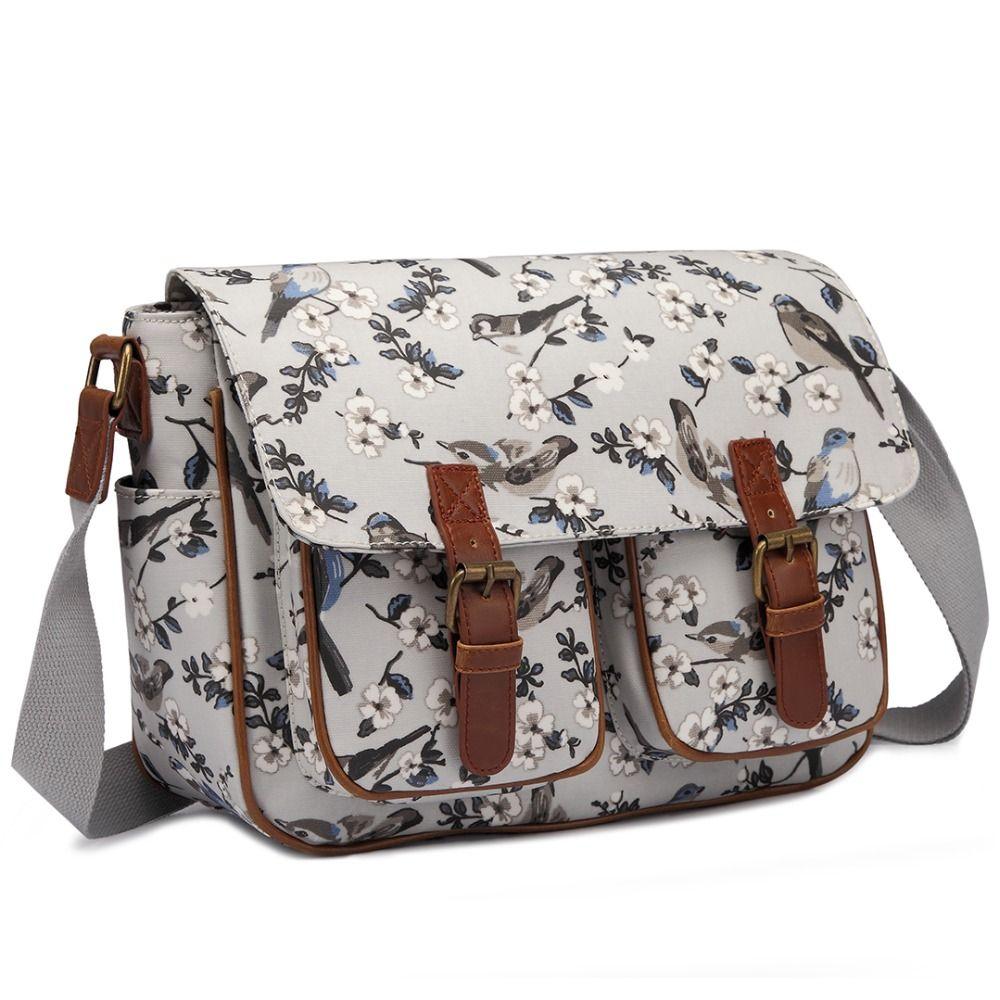 Miss Lulu Women Messenger Bags School Bag For Teenagers Girls Flower Bird  Matte Oilcloth Large Cross Body Shoulder Satchel L1107 Purses Wholesale  Fiorelli ... 43f74ae7b