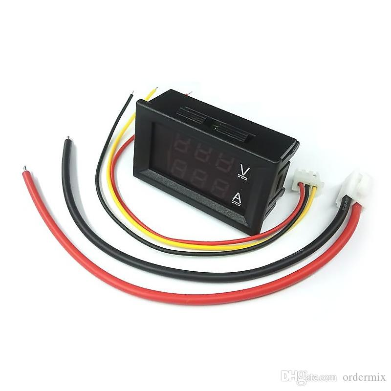 Dc 100 فولت 10a الفولتميتر الأحمر led أمبير المزدوج الرقمية فولت متر مقياس التناظرية فولت مقياس 0.28