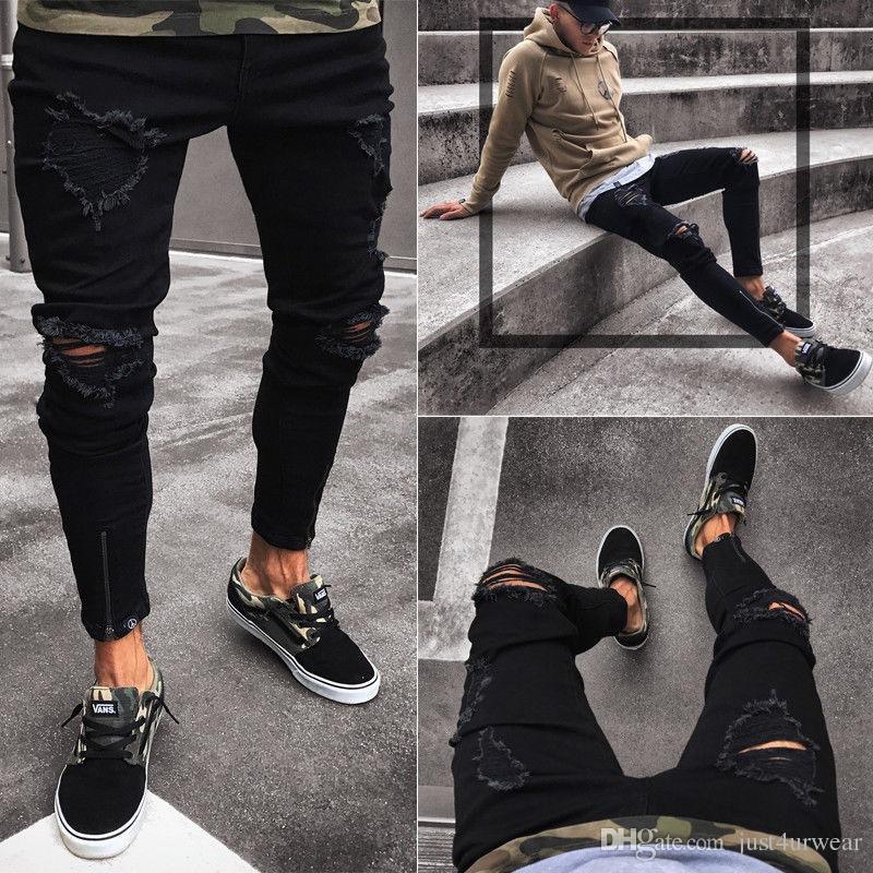 Black Pants for Men Hip Hop Rock Holes Ripped Jeans Biker Slim Fit Zipper Jean Distressed Pants