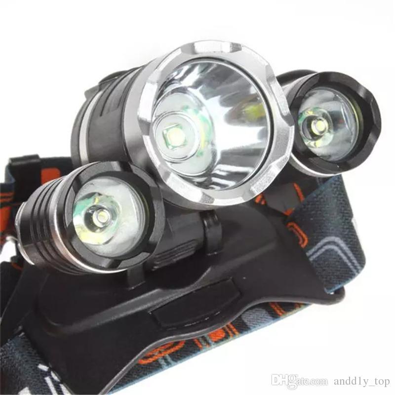 2018 بالجملة 5000lm كري XML T6 + 2R5 LED للمصابيح الأمامية العلوي رئيس ضوء المصباح مصباح يدوي 18650 الشعلة التخييم الصيد القابلة لإعادة الشحن فانوس