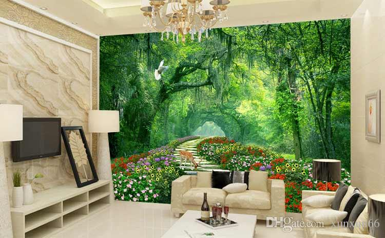 3D woods nature scenery rural TV background wallpaper and living room sofa wallpaper wall of wall of seamless television