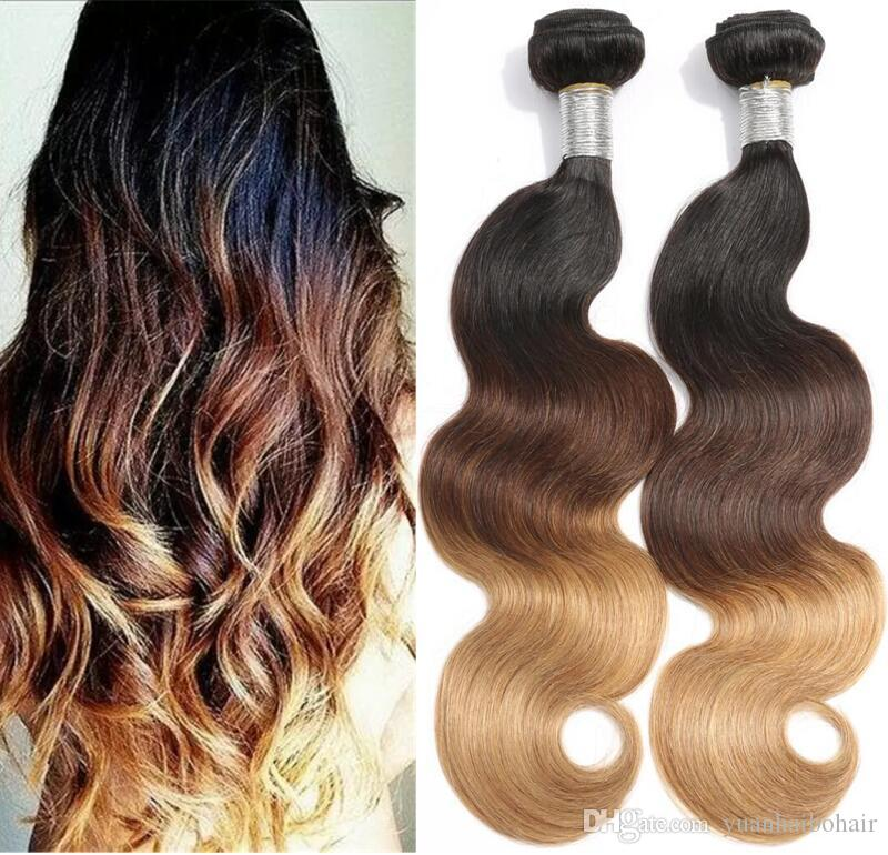 Hot Sale 3 Tone Color Hair #1b/4/27 Body Wave Brazilian Virgin Human Hair Ombre Hair Weft 3PCS Free Shipping