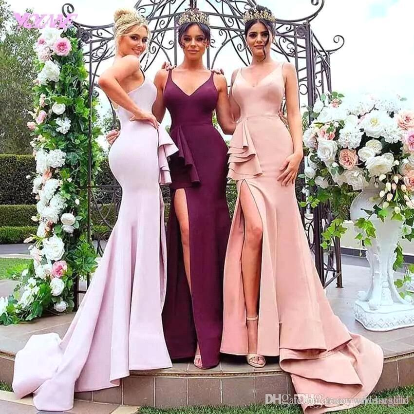 6c88a6bed0256 Sexy Burgundy Mermaid Long Bridesmaid Dresses High Split V Neck Sleeveless  Maid Of Honor Gowns Formal Wedding Guest Party Dresses BA9273