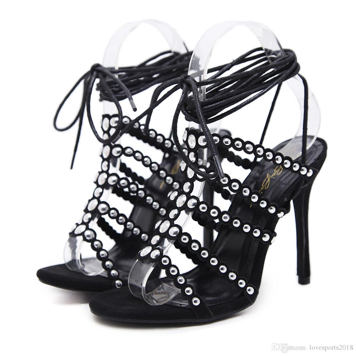 5fad761a417182 New Fashionl Women High Heel Open Toe Rivet Gladiator Catwalk Show ...
