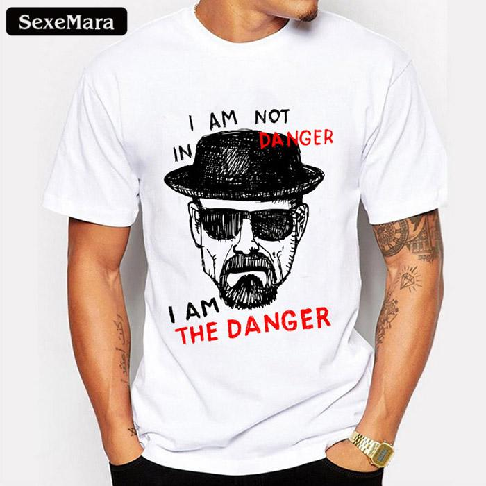 9f30c417c6721 Sexemara Newest Men Fashion Wholesale Discount T Shirt Heisenberg Iam The  Denger Retro Printed Hipster Tops Short Sleeve Casual Tee