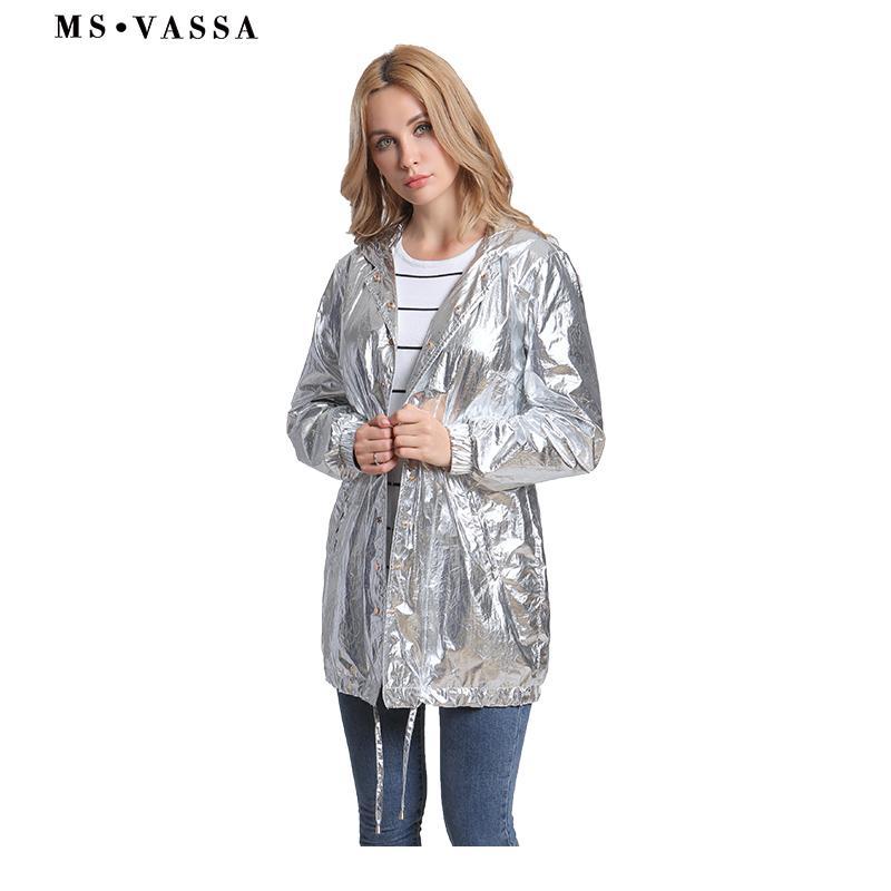 MS VASSA 2018 New Women Trench Autumn Gloss Silver Fashion Coat Hooded  Ladies Adjustable Waist Tops Plus Size Windbreaker Trench Cheap Trench MS  VASSA 2018 ... e4492afe6d19