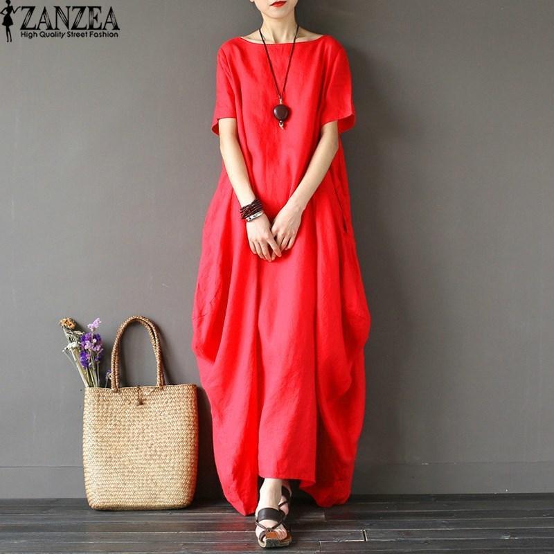 32a0b7901c83 2019 2018 ZANZEA Womens O Neck Short Sleeve Kaftan Baggy Vestido Loose  Casual Party Cotton Linen Solid Maxi Long Dress Plus Size NEWY1882302 From  Zhengrui06 ...