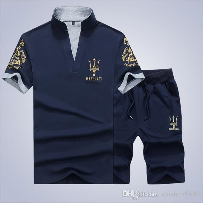 Compre Marca MASERATI Polo + Shorts Trajes De Hombres 100% Algodón Camisa  Polo Masculina Hombres Slim Fit Sólido Manga Corta Polos Camisas Traje Hombre  2018 ... 0848e16c2f910