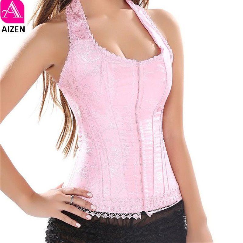 fc3348fa93 2019 AIZNE Pink Halter Corset Top Lace Flower Print Overbust Corset ...