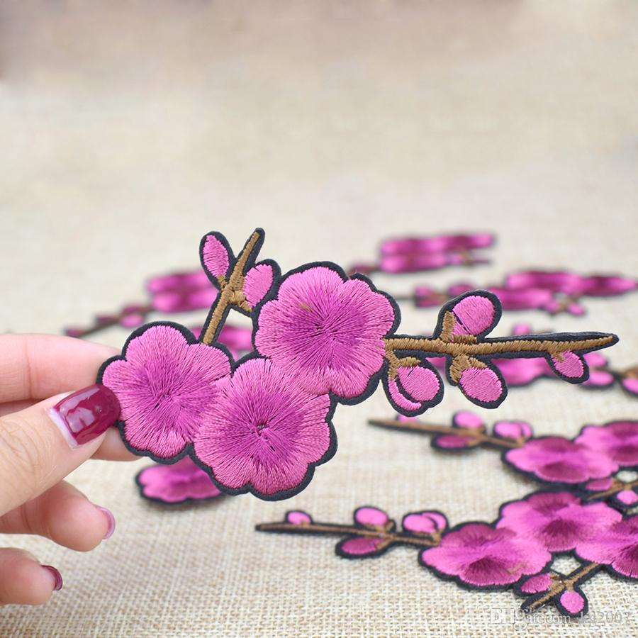 Peach Blossom Embroidered Patches for Clothing Iron on Transfer Applique Patch for Dress Bags DIY Sew on Embroidery Flower