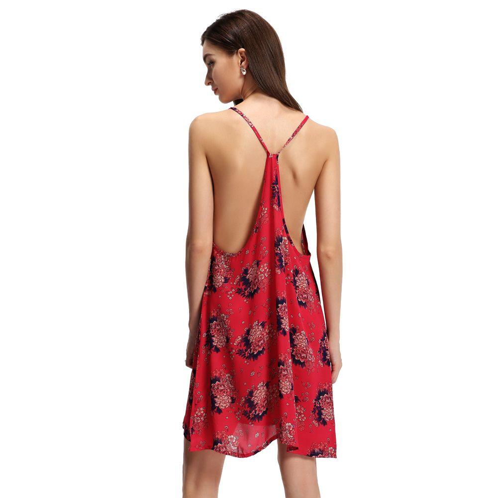 6dc0e808d6174a 2019 Summer Sexy Women Chiffon Dress Spaghetti Strap Mini Slip Dress Open  Back Sleeveless Loose Floral Elegant Party Dresses Red Purple Dress Special  ...