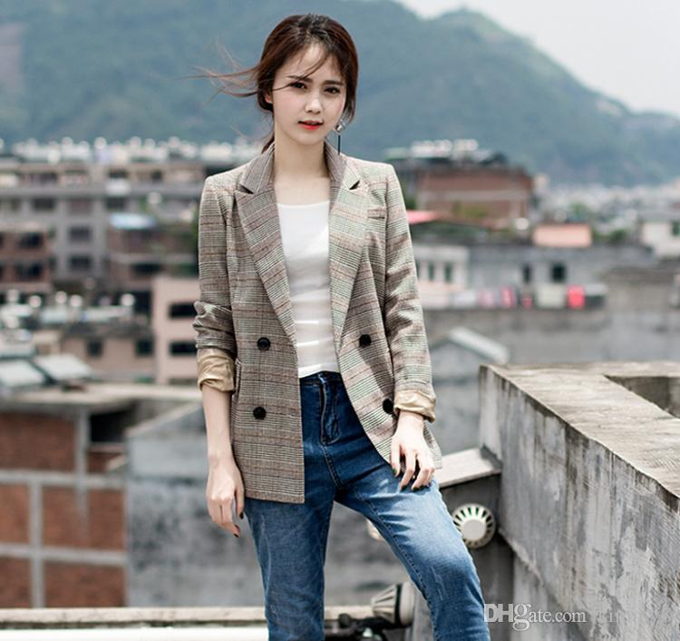 7fe90dc740 2019 2018 Spring New British Style Sub Suit Jacket Korean Spring Casual Thin  Girl College Students Slim Plaid Suit From Kimmy8