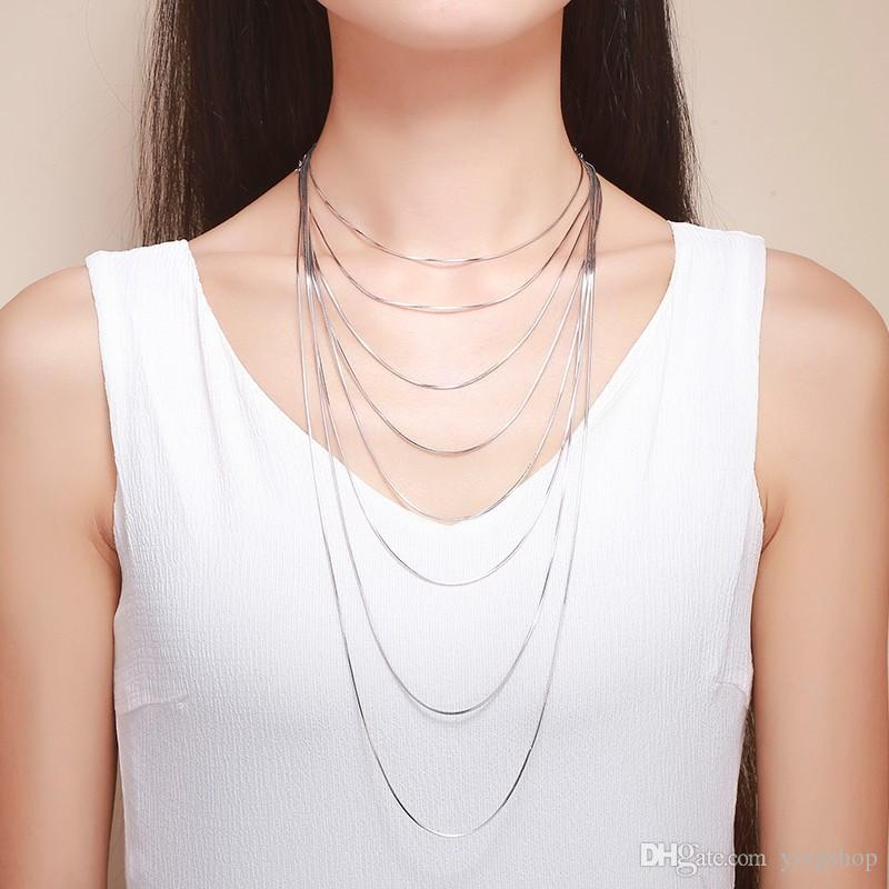 """14""""-32"""" 35-80cm 1mm 925 Sterling Silver Necklaces Italy Slim Thin Snake Chains Necklace Women Chain Kids Girl Men Jewelry Colier"""