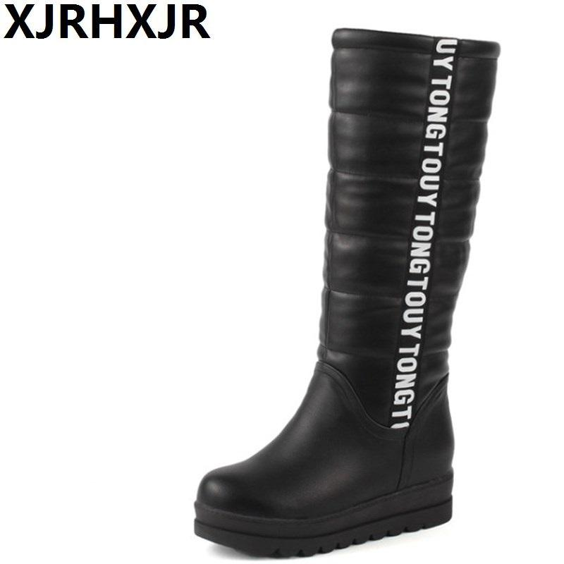 f0d722ec1b9 XJRHXJRWinter Women Shoes Knee High Boots Female Elevator Flat Thermal  Velvet Snow Boots Platform Cotton Padded Shoes Size 34 43 Bootie Buy Shoes  Online ...