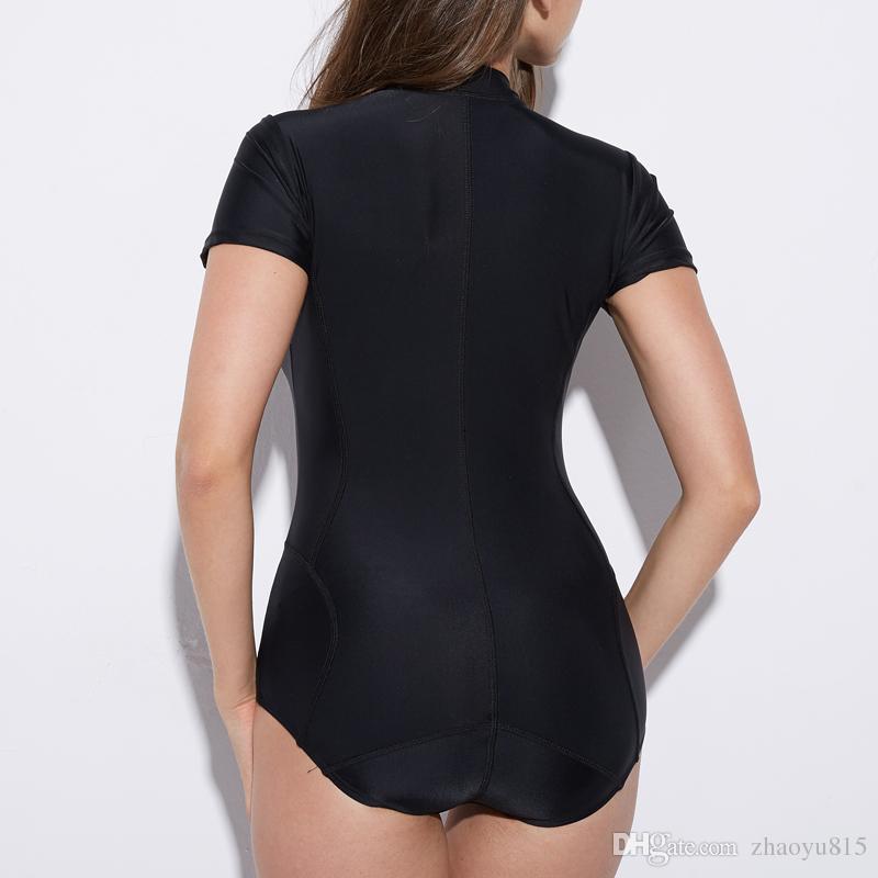 Женщины для похудения с коротким рукавом гидрокостюм One piece серфинг купальники сыпь гвардии 2018 черный купальный костюм молния дайвинг пляжная одежда