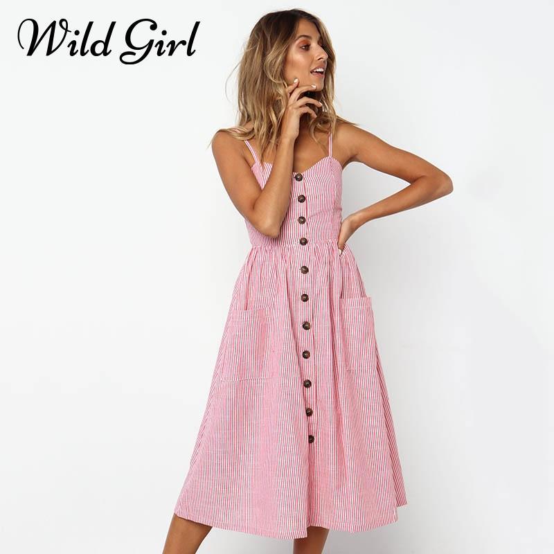 1e9e398899c0 Casual Striped Buttons Cute Maxi Summer Dress 2018 Women Sweet Sleeveless  Beach Dress Long Female Holiday Pink Sundress Vestidos Short Formal Dresses  Mother ...