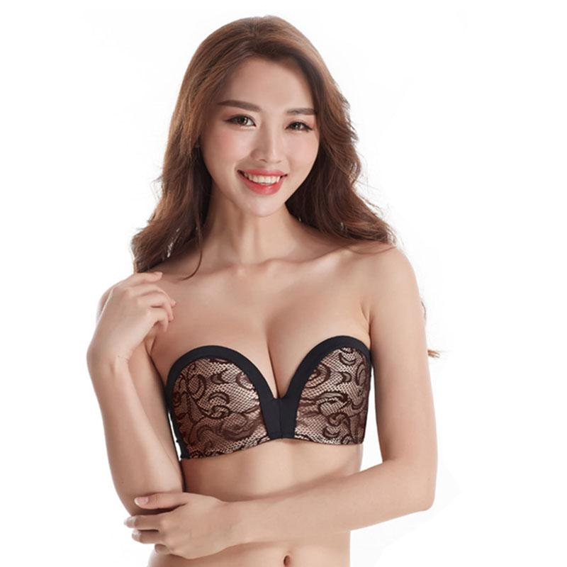 e4bb227c91196 2019 Women Sexy Strapless Bra Seamless Lace Wire Free Push Up 3 4 Cup  Underwear Non Slip Bralette Invisible Bras Lingerie D217 From Luzhenbao521