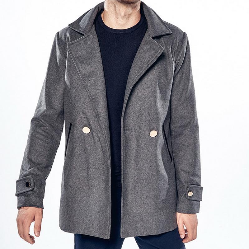 bd445499e438 Großhandel Herbst Winter Warme Jacke 2018 Männer Casual Fashion  Umlegekragen Mantel Mit Tasche Taste Oberbekleidung Herren Workout Track  Mäntel Von Macloth, ...