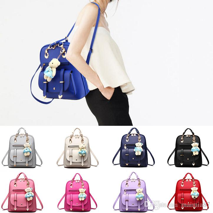 12537082c6 Korean Preppy Style Satchels Bears Women Fashion Pu Backpack Bags Girls Cute  School Shoulder Bags Pink Wholesale Drop Shipping Backpack Purse Dog  Backpack ...
