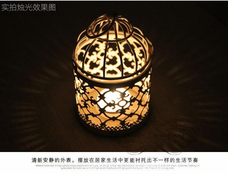 3 Types Metal White Holder Tealight Candlestick Hollow Hanging Lantern Bird Cage Vintage Wrought Candle Holders New