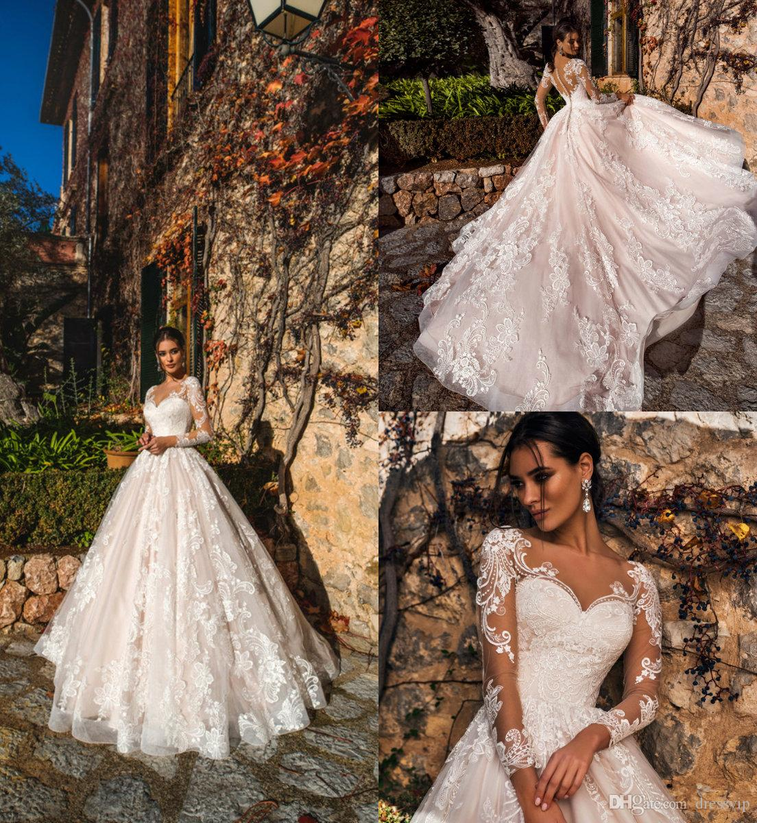 f8c9423c7da9 Discount 2019 A Line Beach Wedding Dresses V Neck Lace Long Sleeves Blush  Pink Tulle Custom Made Country Bridal Gowns Plus Size Wedding Dress Vintage  ...
