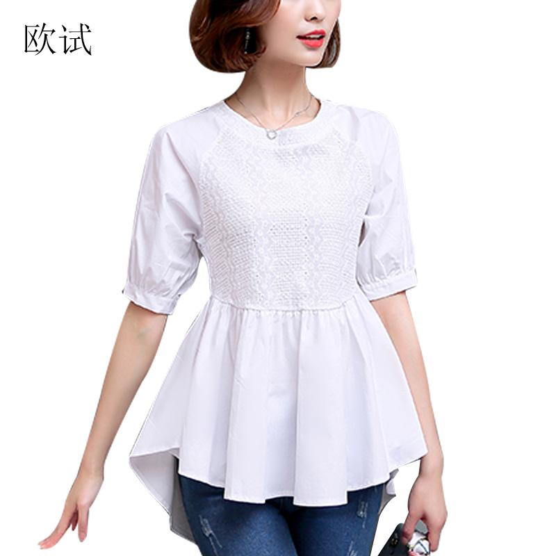 ee88f1590 2019 Women White Cotton Blouse Mesh Hollow Out Fashion Top Shirt ...