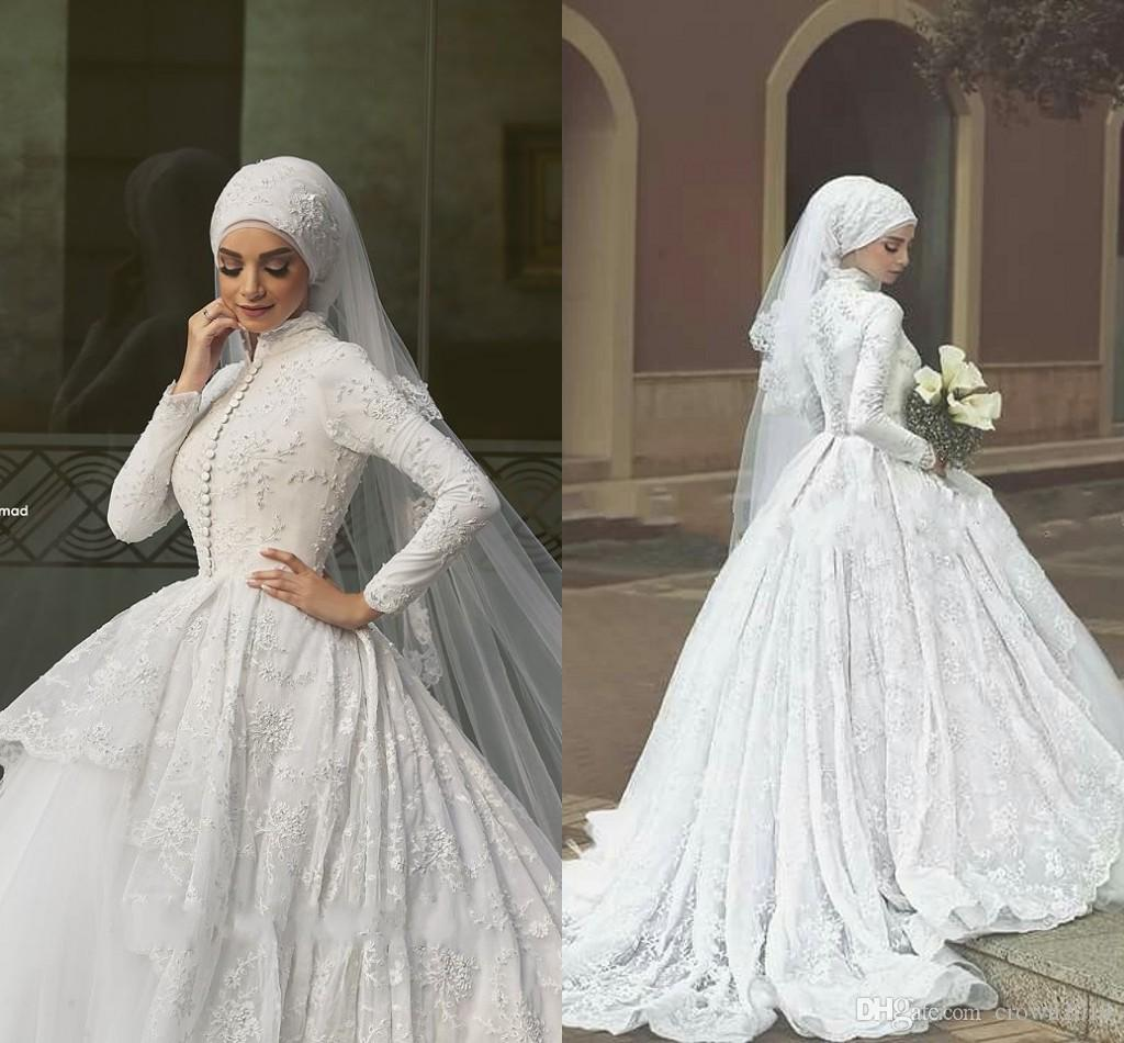 86c1a14f66 2019 Lace Ball Gown Muslim Wedding Dresses High Neck Long Sleeves Puffy  Beaded Court Train Covered Buttons Bridal Gowns With Hijab Veil