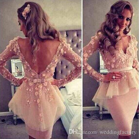 Myriam Fares Blush Pink Deep V-neck Long Sleeves 3D Floral Lace Flowers Sheath Backless Peplum Celebrity Evening Dresses Gowns