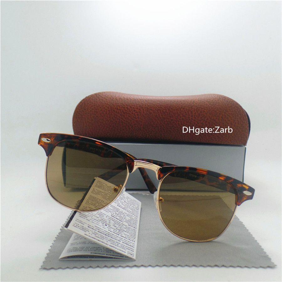 fashion Glass Lens Men Women classic Vintage Sunglasses UV400 Fashion Eyewear 58MM 62MM Goggles Eyeglass Brown With Box Case