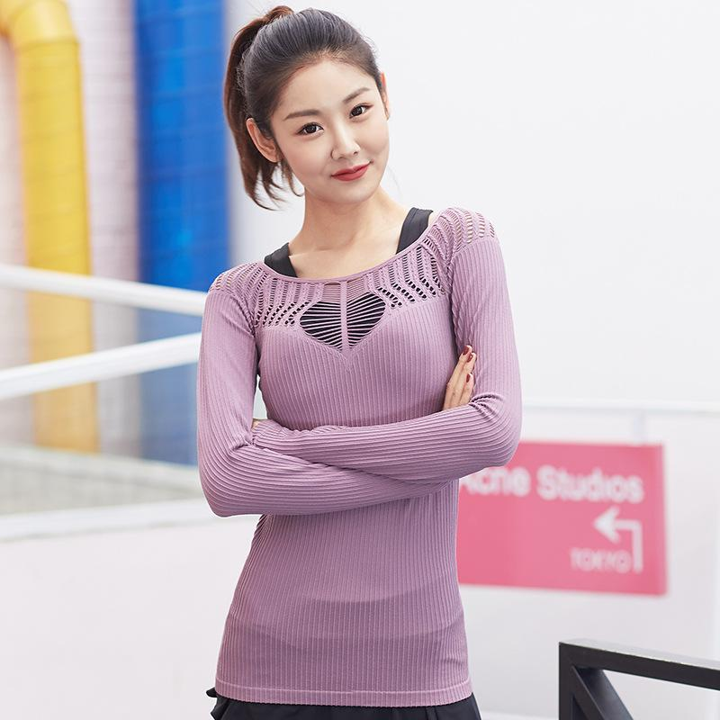 0649ebbd3 2019 Wanderer Long Sleeve Yoga Top For Women Sexy Hollow Out Training Top  Cutout Workout Gym Clothes Solid Thumb Hole Yoga T Shirts From Onecherry,  ...