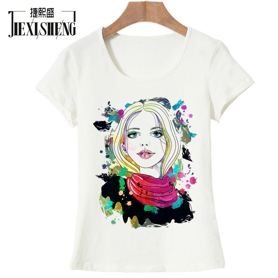 61d314c745 Women's Tee Newest Summer Women T Shirt Fashion Oil Painting Girl Printed T- shirt Casual Short Sleeve O - Neck Top Tees