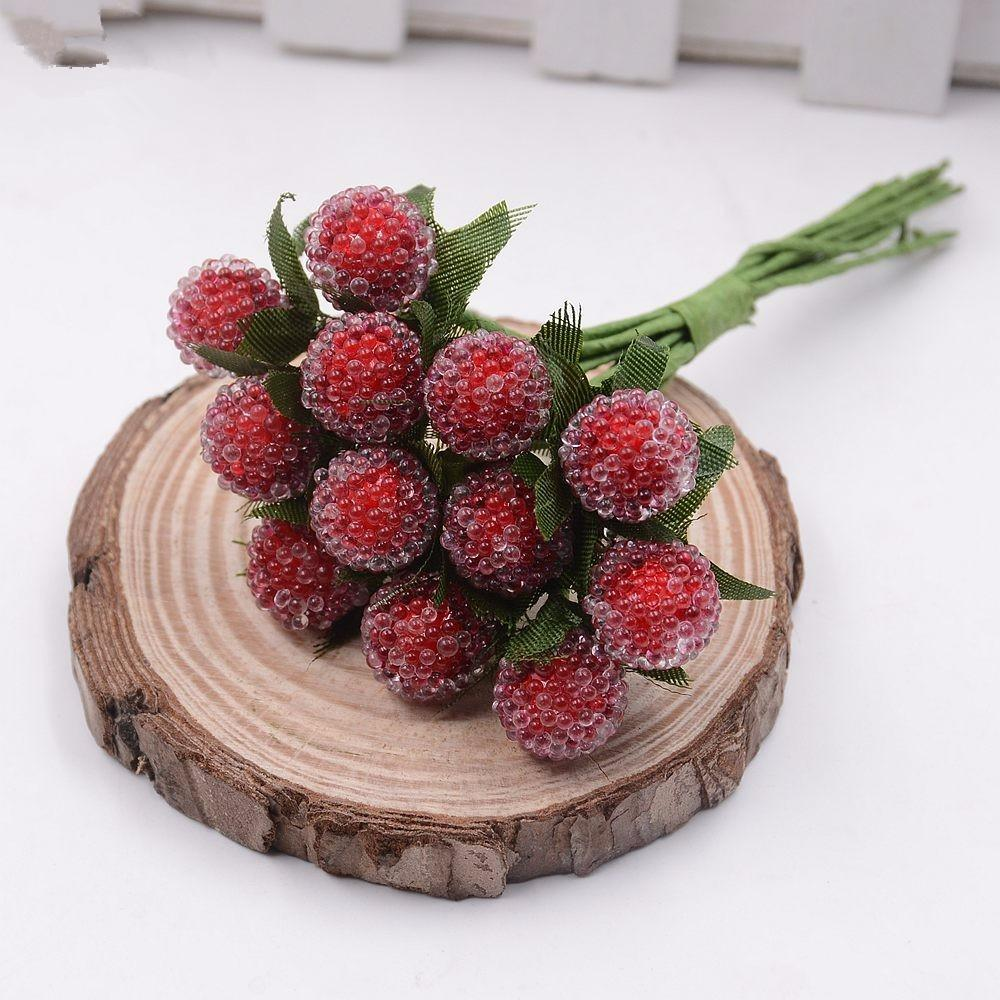 artificial berry cherry red stamens pearl wedding simulate glass pomegranate wedding home decorations artificial flowers