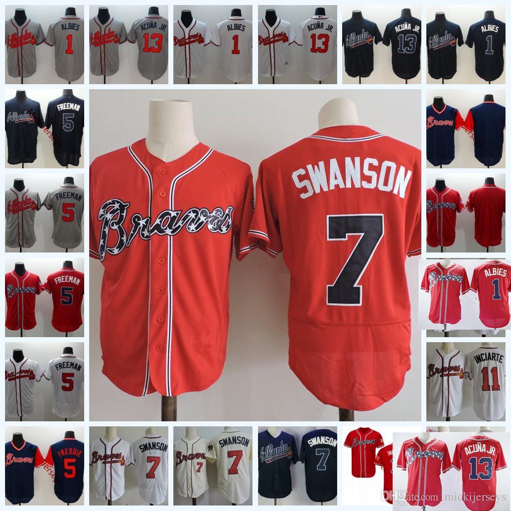 Mens  1 Ozzie Albies 13 Ronald Acuna Jr. Cool Base Jerseys  5 Freddie  Freeman  7 Dansby Swanson Flex Base Baseball Jersey S-3XL Dansby Swanson  Freddie ... 334209ef7