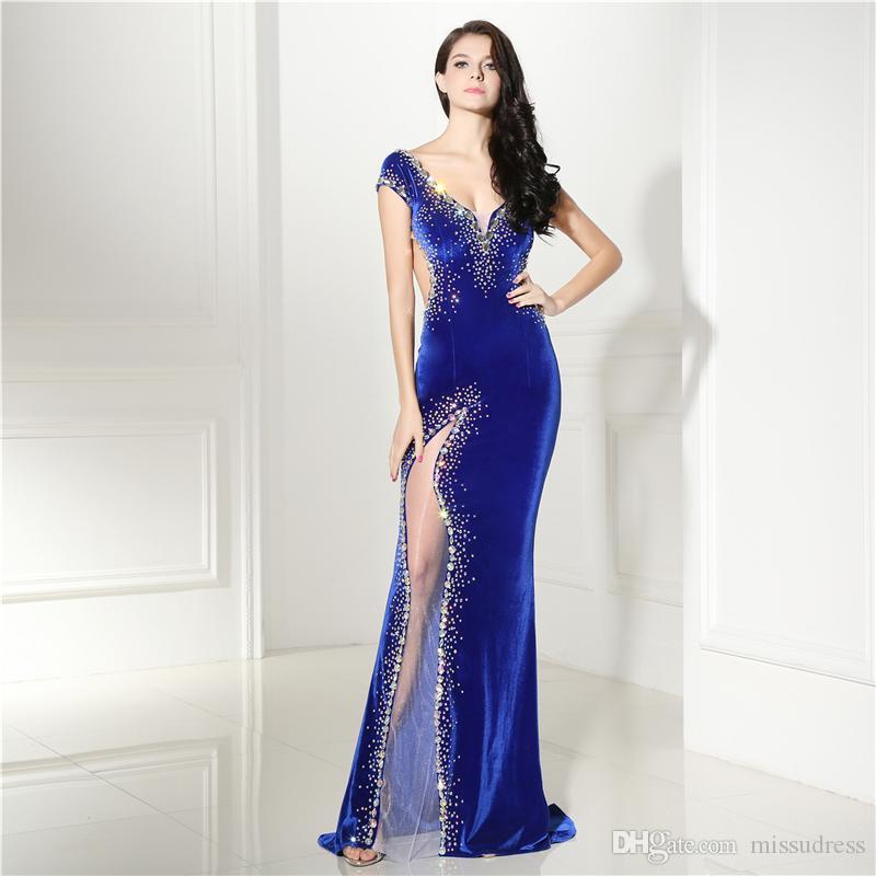 로얄 블루 이브닝 드레스 긴 섹시한 반짝 이는 페르시 v 목 캡 슬리브 드레스 저녁 여성 벨벳 댄스 파티 드레스