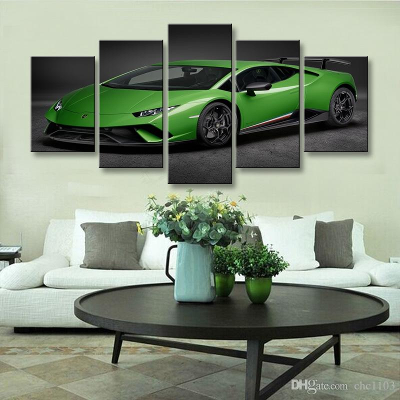high-definition print Sports car canvas oil painting poster and wall art living room picture C5-049