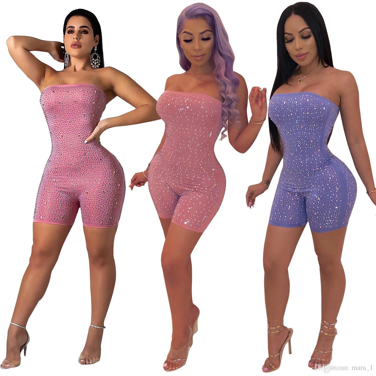 2019 Women Designer Rhinestone Club Jumpsuit Rompers Sexy Strapless