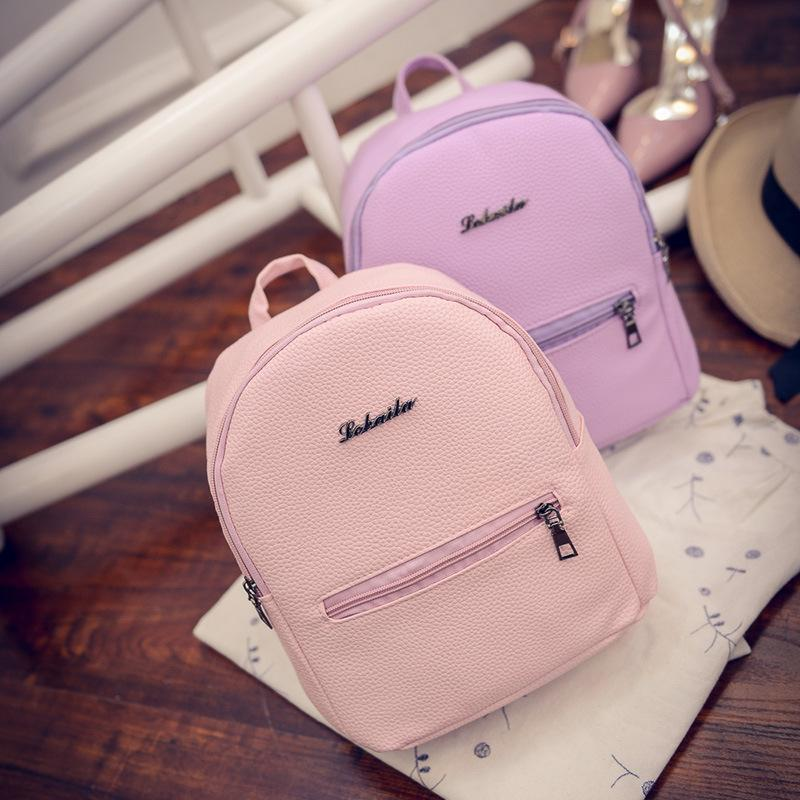 298b922ee52a Brand Backpack Women BackpacSweet College Wind Mini Female Backpack PU  Leather Fashion Candy Color Small School Bag For Girls