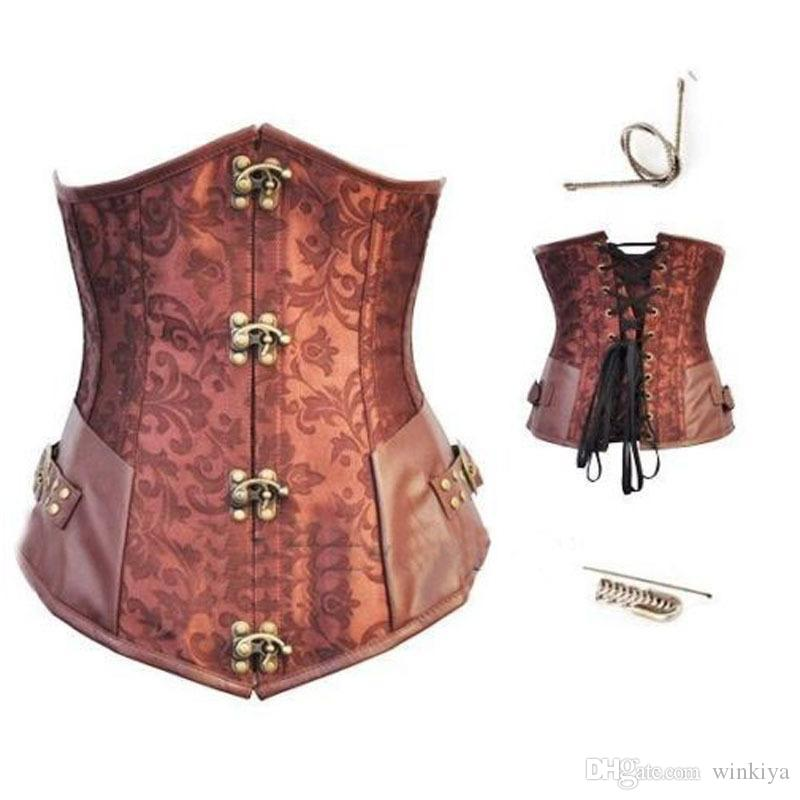 9243ab5a5e 2019 Brown Retro Sexy Basque Gothic Corset Lace Up Steel Boned Brocade  Steampunk Corselet Underbust Red Balck S 2XL From Winkiya