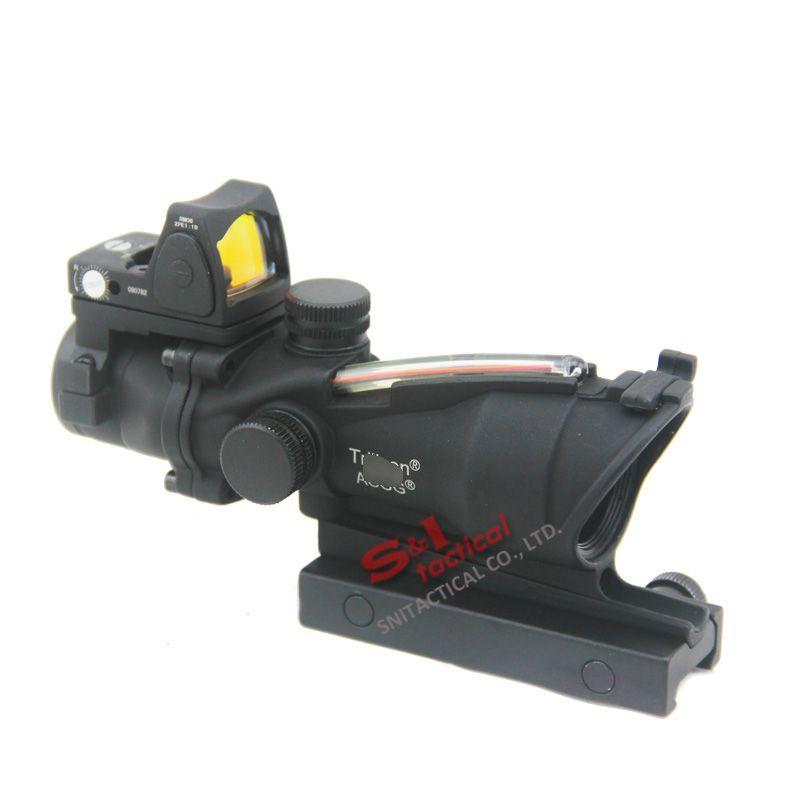 Nuovo Trijicon ACOG 4X32 Fibre Source Red Illuminated Rifle Scope w / RMR Micro Red Dot Marked Version Black