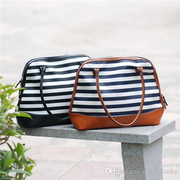 4a4aa500f23f ROYALBLANKS Canvas Stripes Shell Tote Purse Bag With Faux Leather Straps  Zipper Closure Plaid Bag For Christmas Ladies Purses Fashion Bags From  Royalblanks