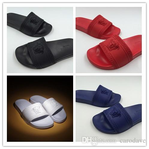 3a0bb32bc65 2018 Men Sandals Designer Slides Brand Fashion Striped Sandals Medusa  Scuffs Causal Non Slip Summer Huaraches Slippers Flip Flops Slipper Bridal  Shoes Cheap ...