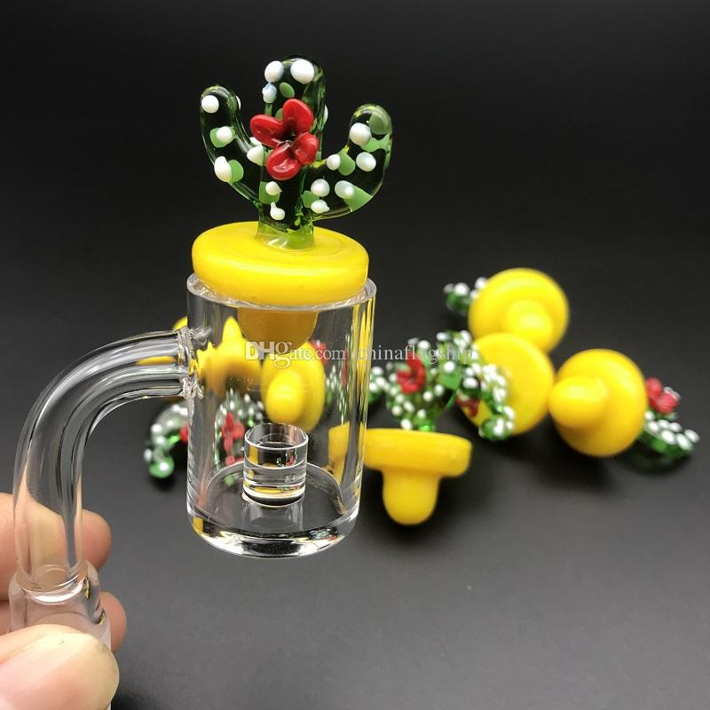 23mm OD Colored Cactus flower Glass carb cap dome fit Quartz banger dab Nails for glass water pipes dab oil rigs glass bong