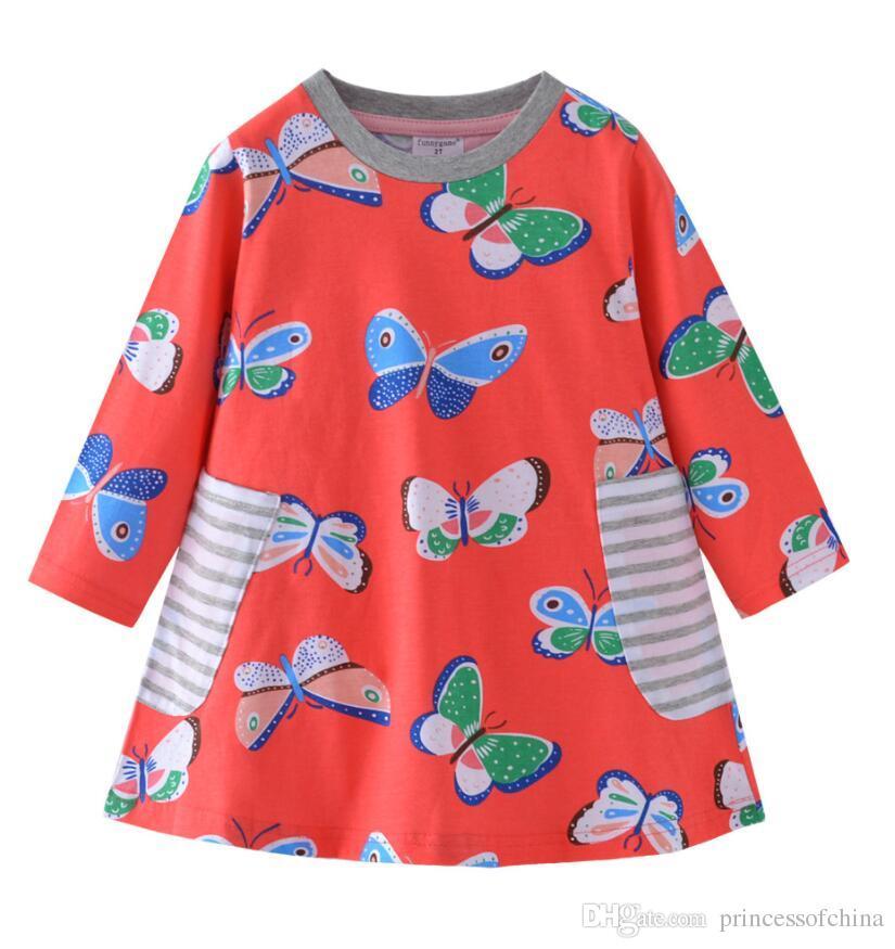 4a379b8cfaf2 Girls Dress Kids Children Clothing Butterfly Long Sleeve Girl ...