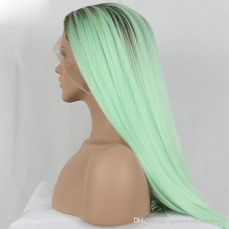 mint green 2T ombre silky straight synthetic lace front wigs green long natural heat resistant fiber hair with dark roots
