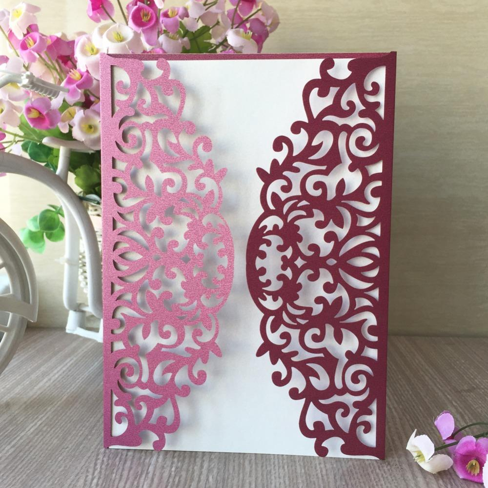 Laser Cut Pearl Wine Red Color Thank You Gift Decoration Wedding ...