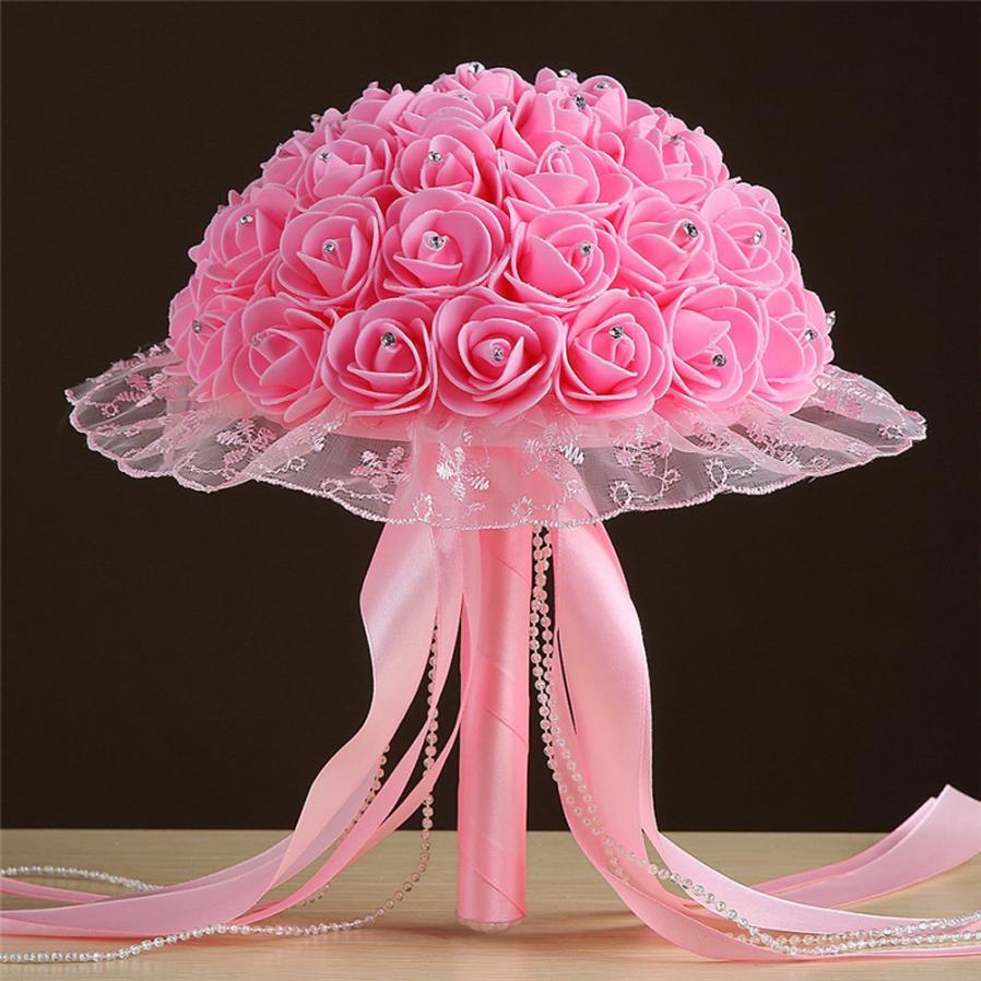 Online Cheap Crystal Lace Roses Bridesmaid Wedding Bouquet Bridal