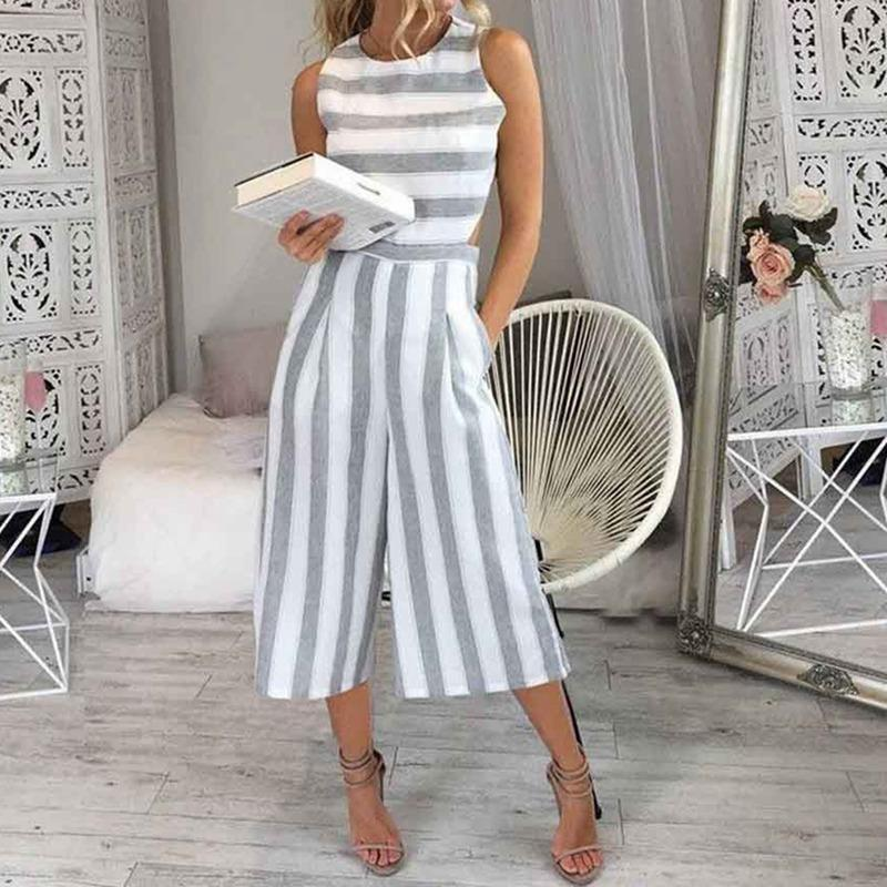 9c261adcf10 2019 2018 Women S Sleeveless Striped Jumpsuit Casual Loose Trousers ...
